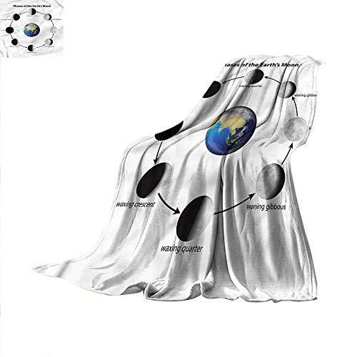 Moon Phases Digital Printing Blanket Full Moon Earth Orbit Summer Quilt Comforter 62
