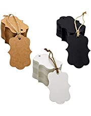 300 PCS kraft paper gift tags, three colors, natural jute thread, black, white and brown blank gift tags,Artworks and handicrafts, Christmas Thanksgiving and festive weddings, suitable for any party supplies
