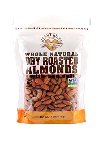 Heart Ridge Farms 1LB Bags of Almonds- Resealable Package For Long Lasting Freshness (Whole Natural Dry Roasted With Sea Salt, 3-1lb bags)