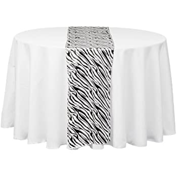 Superbe LinenTablecloth Satin Table Runner, 14 By 108 Inch, Zebra Print