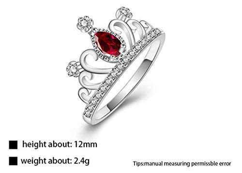 Chuan Han High-End Crown Micro-Inlay Ring Female Korean Version of The Personality Hollow Crown Rose Gold Couple Ring, Zircon, Classic, Engagement, Flat Ring, Claw Setting, Platinum Plated, US ()