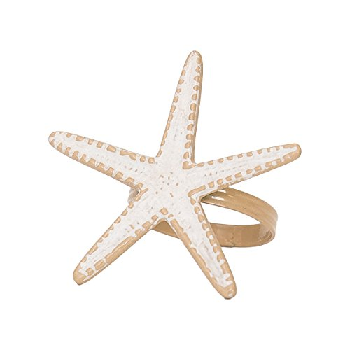 C&F Home Starfish Whitewashed Tropical Beach House Coastal Vacation Dining Room Hand Crafted Decorative Napkin Ring Set of 6 Napkin Ring Set of 6 Starfish Whitewashed