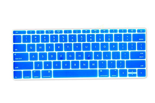 """DHZ Sky Blue Keyboard Cover Silicone Skin for New Macbook 12"""" with Retina Display (2015 Model A1534) and New MacBook Pro 13 Inch (2016 Newest Version Model A1708, No Touch Bar)"""