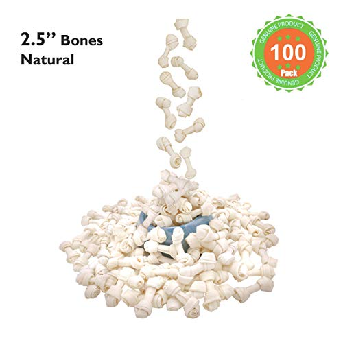 MON2SUN Dog Rawhide Knot Bones Natural 2.5 Inch 100 Count for Puppy and Small - Rawhide Knot Natural Bone