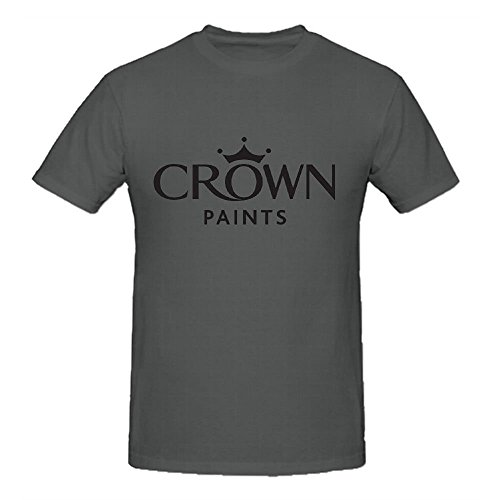 (Existlong Crown Logo T Shirts For Men Crew Neck Grey)