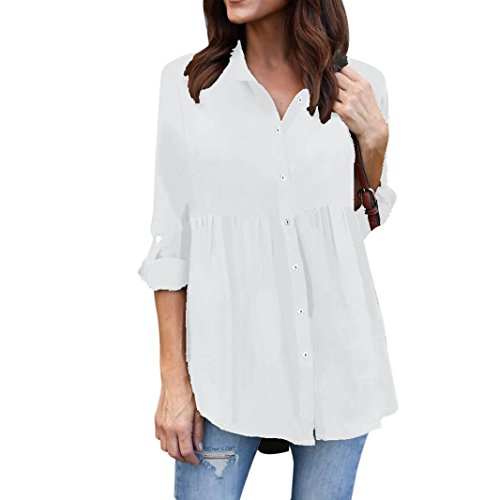 omen's Blouse 3/4 Roll-Up Sleeve Button Down Tunic Shirt Chiffon Long Sleeve V Neck Top (White, 3XL) ()