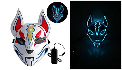 Moonideal Led Light UP Game Fox Mask | Neon Line Halloween Mask | Sound Induction Mask Controller | Flash with Music 4 Different Mode (deep Blue)]()