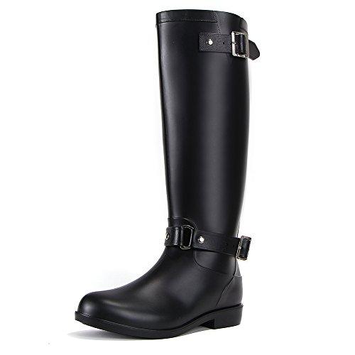 Womens Black Tall Rain Shoes Back Adjustable Waterproof Wellies Rain Wellington Boots