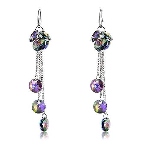 Silver Plated Purple Crystal - Amethyst Purple Crystal Tassel Earring Silver Plated Dangle Drop Earring Made with Swarovski Crystal