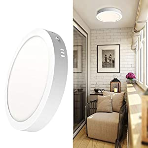 DLLT Flush Mount Ceiling Lighting Fixture LED, Round Ultra-Thin Surface Mount Ceiling Light for Closets, Entryway, Kitchen, Bathroom, Hallway,18W 1400lm 3000K- Warm Light Low Profile Light Fitting