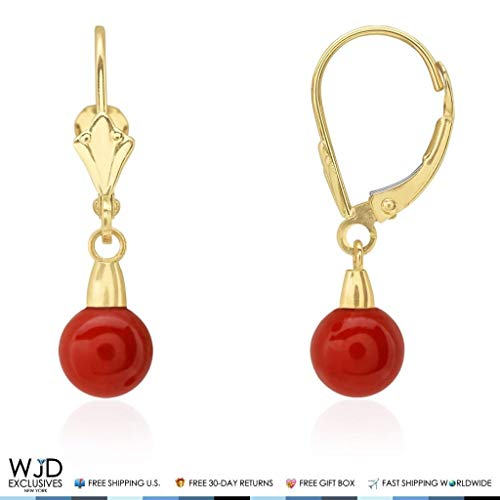 (6 mm Ball Shaped Red Coral Leverback Dangle Earrings 14K Solid Yellow Gold)