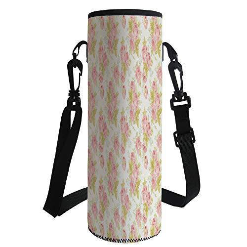 Water Bottle Sleeve Neoprene Bottle Cover,Rose,Soft Pastel Pattern Vintage Botanical Flourish Victorian Springtime Vegetation Decorative,Rose Pale Green,Fit for Most of Water Bottles