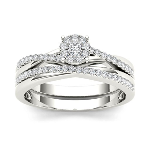 Tdw Wedding Ring Set (De Couer 10k White Gold 1/4ct TDW Diamond Halo Engagement Ring Set (H-I, I2) (7))