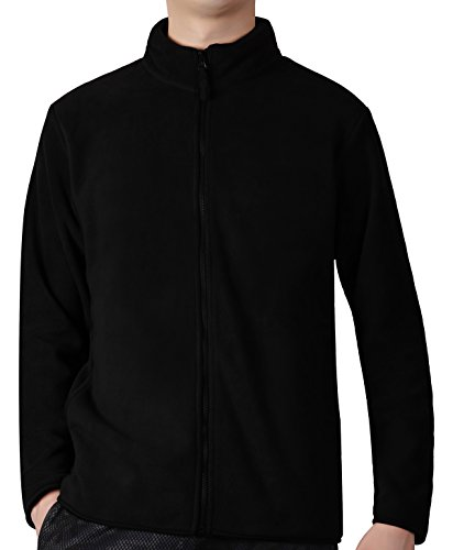 Fastorm Full-Zip Fleece Men Lightweight Fleece Solid Polar Thermal Fleece Jacket Sweater Black XL - Mens Polar Fleece