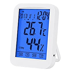 Temperature Hygrometer, Indoor Digital Hygrometer, Multifunctional Temperature Humidity Meter with Blue Backlight, Jumbo Smart Touchscreen with Clock (Not Include Battery) (White)