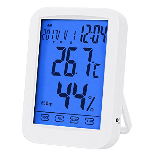 Temperature Hygrometer, Indoor Digital Hygrometer, Multifunctional Temperature Humidity Meter with Blue Backlight, Jumbo Smart Touchscreen with Clock (Not Include Battery) (White) by DEXUNWEI
