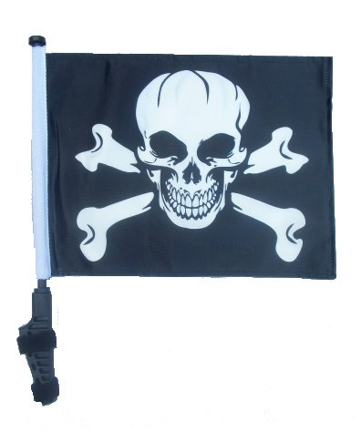 (PIRATE / JOLLY ROGER Golf Cart Flag with SSP Flags EZ On & Off Bracket)