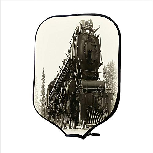 Railroad Real Train Photo (Neoprene Pickleball Paddle Racket Cover Case,Steam Engine,Antique Northern Express Train Canada Railways Photo Freight Machine Print,Black Grey,Fit for Most Rackets - Protect Your Paddle)