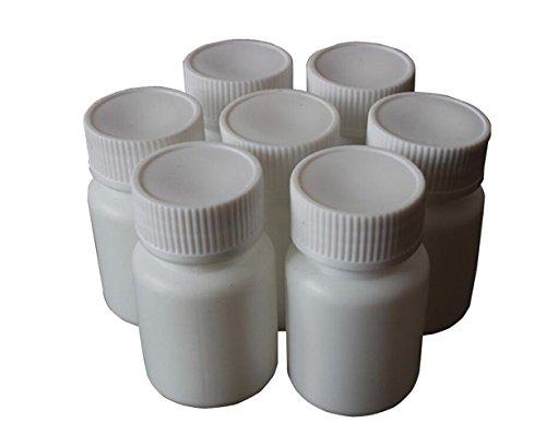 50PCS White Plastic Empty Refillable Solid Medicine Pill Tablet Bottle Case Capsule Holder Container Vials Box For Chemical Powder Sample Liquid Storage (30ml/1oz)