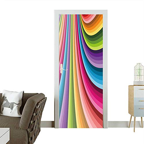 Door Sticker Wall Decals Abstract Background Vector Can be Used for Wallpaper,Web Page Background,Web Banners Easy to Peel and Stick W30 x H80 INCH -