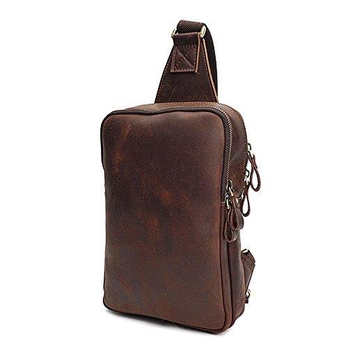YHDD Män affärer vardagliga axelväskor diagonalt paket äkta läder bärväska shoppingresa