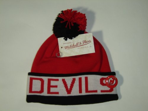 Mitchell and Ness NHL New Jersey Devils Vintage Block Cuffed Knit Hat Pom Beanie
