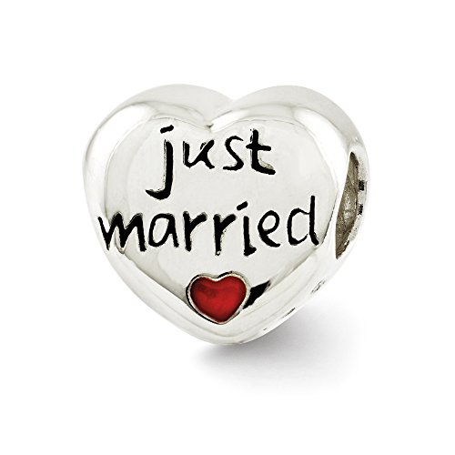 Sterling Silver and Enameled Just Married Heart Bead Charm - Enameled Heart Bead