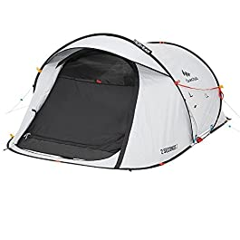 Quechua Waterproof Pop Up Camping Tent 2 Seconds Fresh & Black Easy Set Up and Fold – Extra Dark Interior