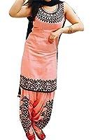 Ethnic Vila Women's Cotton Silk Patialas Dress Material (Patiyala_Orange_Free Size)