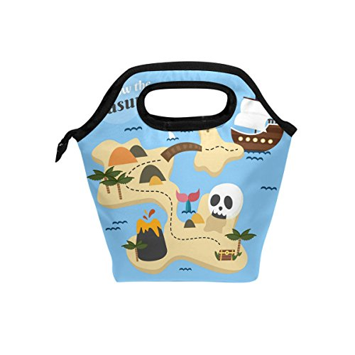 e Treasure Map With Skull And Boat Handbag Lunchbox Food Container Gourmet Tote Cooler Warm Pouch For School Work Office Travel Outdoor By Saobao ()