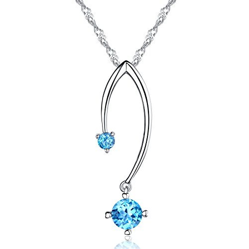 "♥Anniversary Gift♥ Natural Swiss Blue Topaz Genuine Gemstone Pendant Necklace ""Stickwitu"" Sterling Silver Fine Jewelry Gift for Women for her"