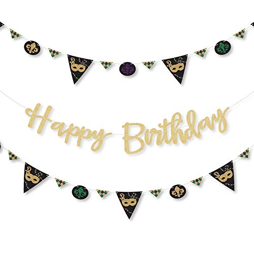 Mardi Gras - Masquerade Birthday Party Letter Banner Decoration - 36 Banner Cutouts and No-Mess Real Gold Glitter Happy Birthday Banner Letters ()