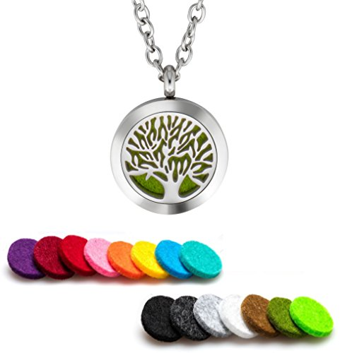 Oil Diffuser Necklace Aromatherapy 25mm Stainless Steel Locket Pendant with 24 Inch Adjustable Chain, 15 Washable Refill Felt Pads. (Tree Of Life) ()