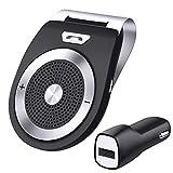 Bluetooth Car Kit,Konrisa Bluetooth 4.1 Receiver Handsfree Audio Music Car Speakerphone Sun Visor Simultaneously Pair 2 Phone for iPhone 6 6s 7, Samsung,HTC