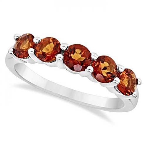 Genuine Madeira Citrine Ring - Genuine Five Stone Madeira Citrine Ring For Women in Sterling Silver (1.15ct)