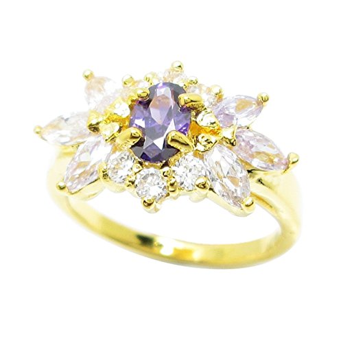 Ring Oval Purple Color 4x6 mm.Marquise Lavender Color 2x4 mm.CZ Gold Plating (6) (6x4mm Oval Ring Setting)