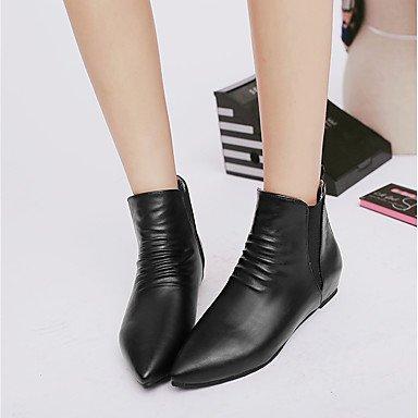 DESY Damen Schuhe Kunstleder Winter Komfort Stiefeletten Stiefel Niedriger Absatz Spitze Zehe Booties / Stiefeletten Für Normal Kleid Schwarz black
