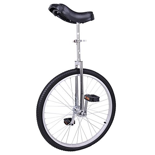 GHP Aluminum Rim Manganese Steel Frame & Bearing 24''x1.75'' Wheel Silver Unicycle by Globe House Products