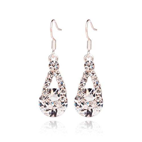 (Toosvan Crystal Pendant Earrings Sterling Crystal Earrings Brilliant Drop Earrings Wedding Gift)