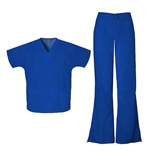 Cherokee Women's Workwear Top 4700 & Flare Leg Drawstring Pant 4101 Scrub Set (Galaxy Blue - - Leg Drawstring Pant Flare