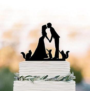 Amazon.com: bride and groom Silhouette Wedding Cake topper 3 cats ...