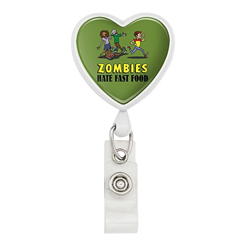 Zombies Hate Fast Food Funny Heart Lanyard Retractable Reel Badge ID Card Holder - White (Zombie Badge Reel)