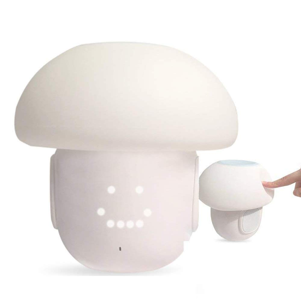 Elecguru Mushroom LED Night Light Wireless Bluetooth Speaker 6 Imagic Display Touch LED Mood Light Sensor Dimmable Portable Lamp Music/FM Radio Home Decor Party Supplies