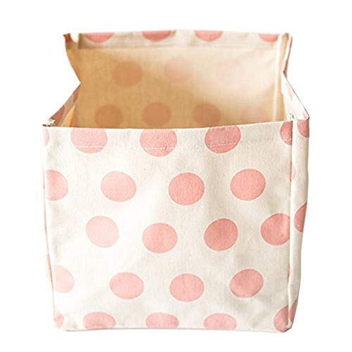 (Lily & Logan Collapsible Storage Basket/Shelf Bin -100% Natural Pink Polka Dot Fabric - Organizer for Home,Office, Bedroom, Closet, Toys, Laundry - 11