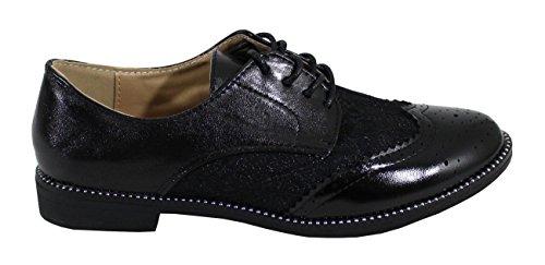 avec Femme BI Black Derbies Shoes Dentelle Matière By ZwECgq1