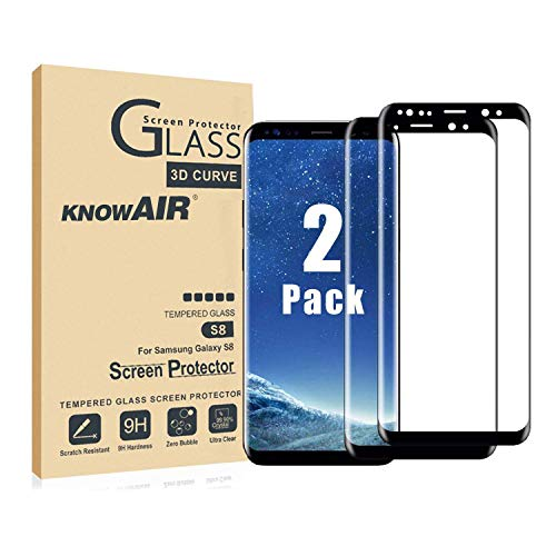 KNOWAIR Galaxy S8 Plus Screen Protector,Full Coverage Tempered Glass[2 Pack][3D Curved] [Anti-Scratch][High Definition] Tempered Glass Screen Protector Suitable for Samsung Galaxy S8 Plus (NOT S8) (Best Samsung S8 Screen Protector)