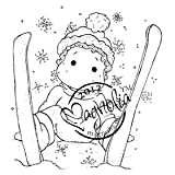 Magnolia A Christmas Story Cling Stamp, 2.5 by 2.75-Inch, Ski Edwin with Snowflakes