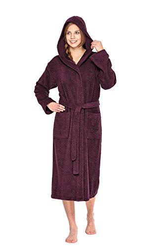 wewo fashion Damen Kapuzen-Bademantel 3006 bordeaux S