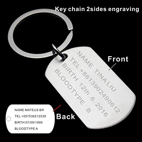 Davitu Mens Military Army Matt Silver Stainless Steel Blank Dog Tag Charm Key Chain Pendant Necklace 60CM Long Metal Color: Engrave 1 Side