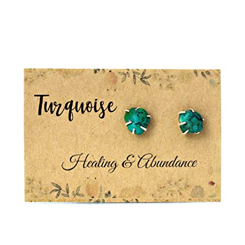 Raw Boho Turquoise Earrings Set in 925 Sterling Silver Studs